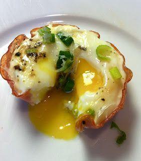 Ovos com queijo e peito de peru