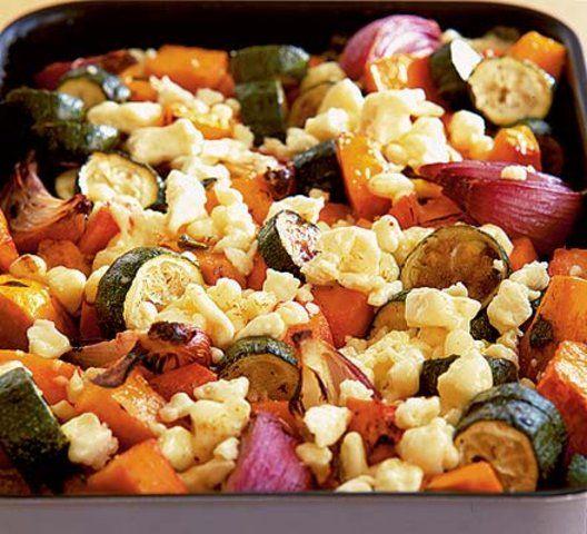 Legumes assados com queijo mussarela