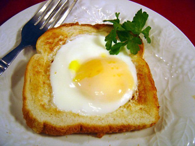 Pão com ovo de microondas