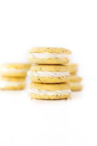 Biscoitos recheados de limão e papoula