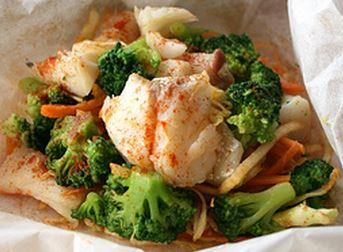 Lascas de Bacalhau com Legumes