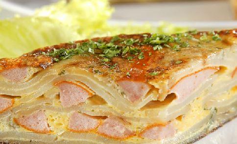Omelete de Batata com Salsicha