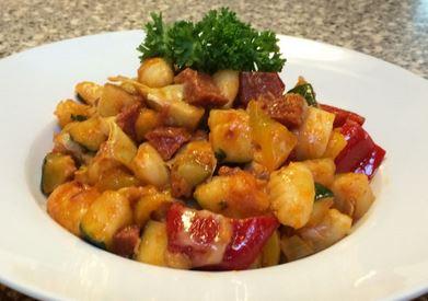 Nhoque com Legumes e Chorizo