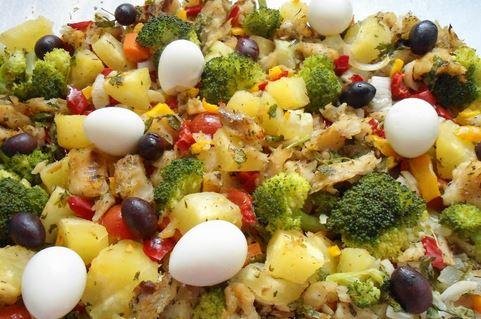 Bacalhau com Legumes ao Forno