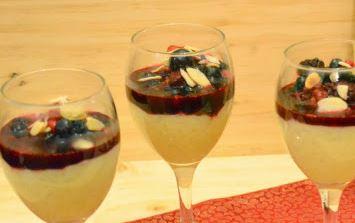 Arroz Doce com Calda de Frutas Vermelhas e Vinho Porto