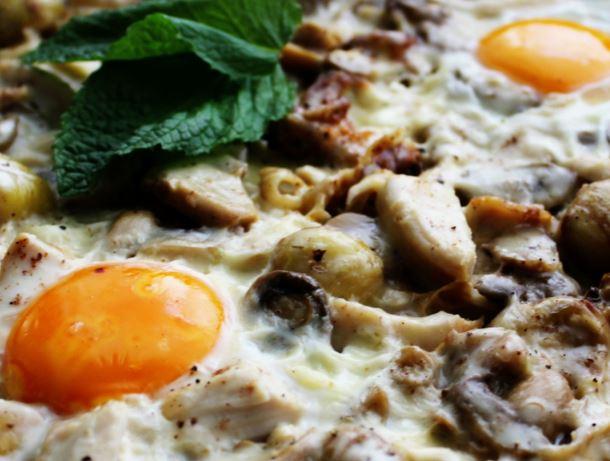 Frigideira de Frango, Ovos e Cogumelos