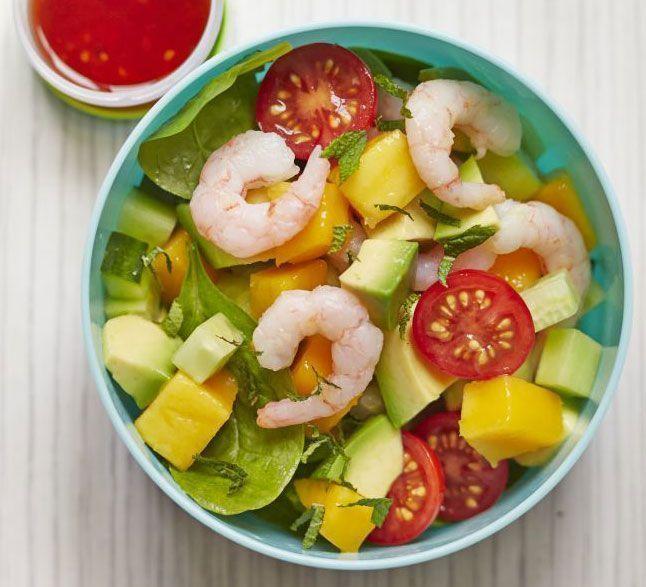 Salada de camarão com manga