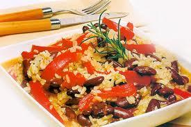 Arroz vegetariano com pimentão