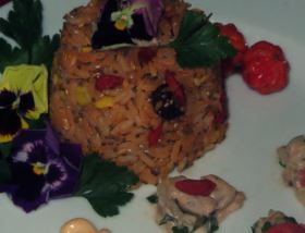 Arroz Tropical com Salmão