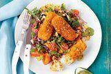 Croquete de salmão e brócolis