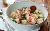 Camarão e lagosta com creme