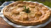 Torta de batata, alho-poró, queijo parmesão e ostras