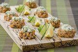 Bolinhos de salmão com pepino