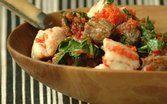 Espinafre ensopado com carne e peixe