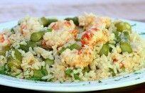 Risoto de camarão com aspargo fresco